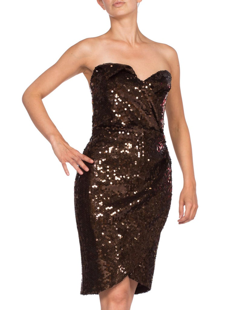 Women's 1980S Thierry Mugler Sequin Beaded Strapless Cocktail Dress1980S THIERRY MUGLER  For Sale