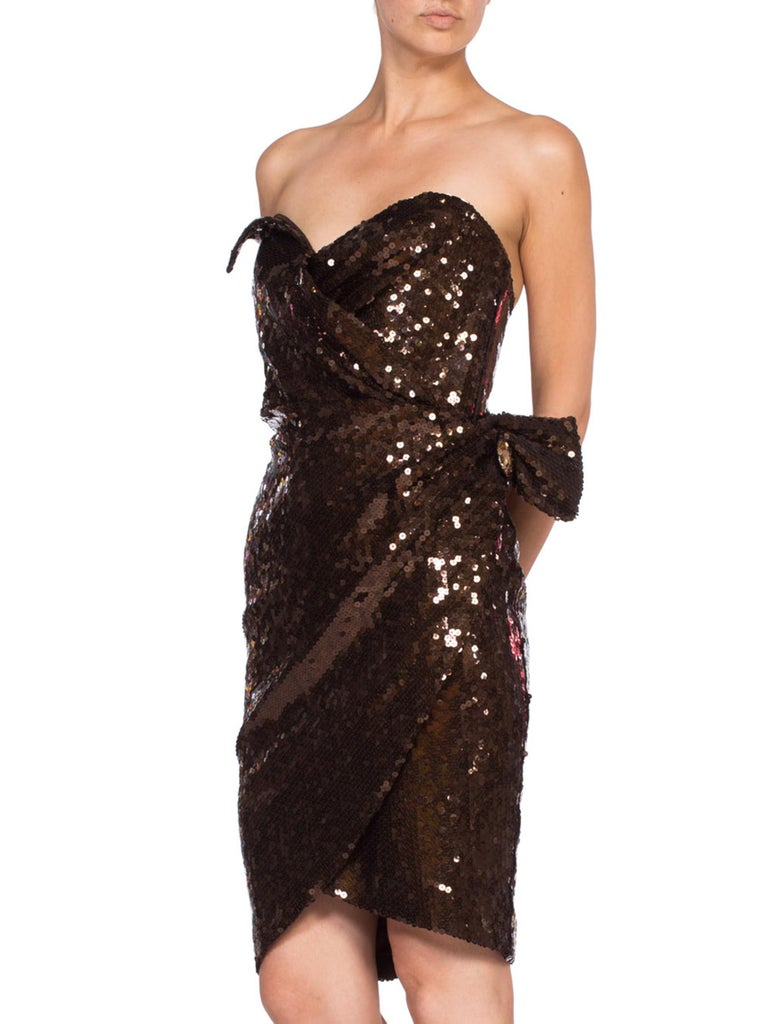 1980S Thierry Mugler Sequin Beaded Strapless Cocktail Dress1980S THIERRY MUGLER  For Sale 2
