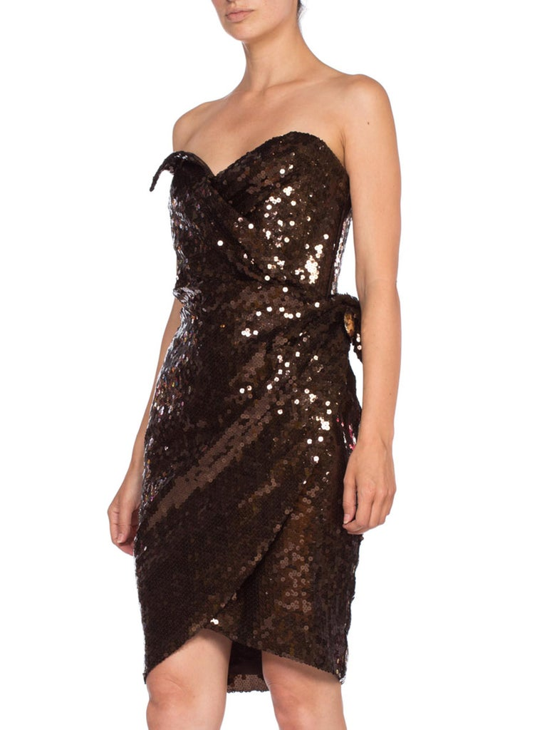 1980S Thierry Mugler Sequin Beaded Strapless Cocktail Dress1980S THIERRY MUGLER  For Sale 3