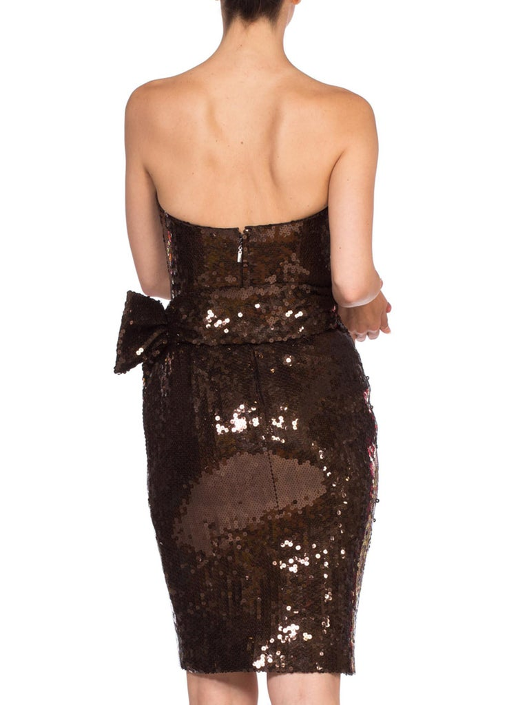 1980S Thierry Mugler Sequin Beaded Strapless Cocktail Dress1980S THIERRY MUGLER  For Sale 4