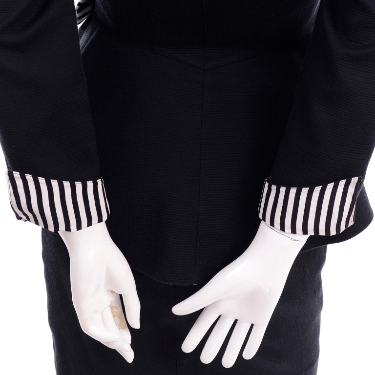 1980s Thierry Mugler Vintage Black Peplum Blazer &  Skirt Suit w/ Striped Bows For Sale 6