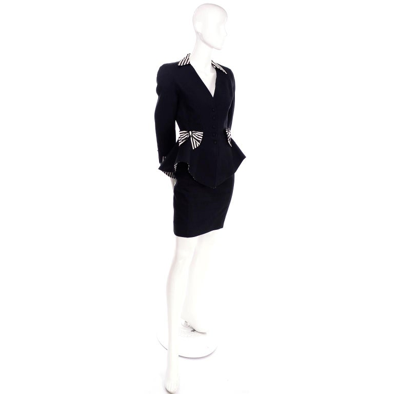 1980s Thierry Mugler Vintage Black Peplum Blazer &  Skirt Suit w/ Striped Bows In Excellent Condition For Sale In Portland, OR