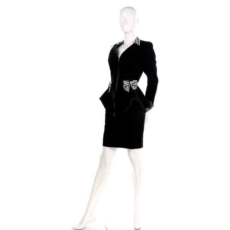 Women's 1980s Thierry Mugler Vintage Black Peplum Blazer &  Skirt Suit w/ Striped Bows For Sale