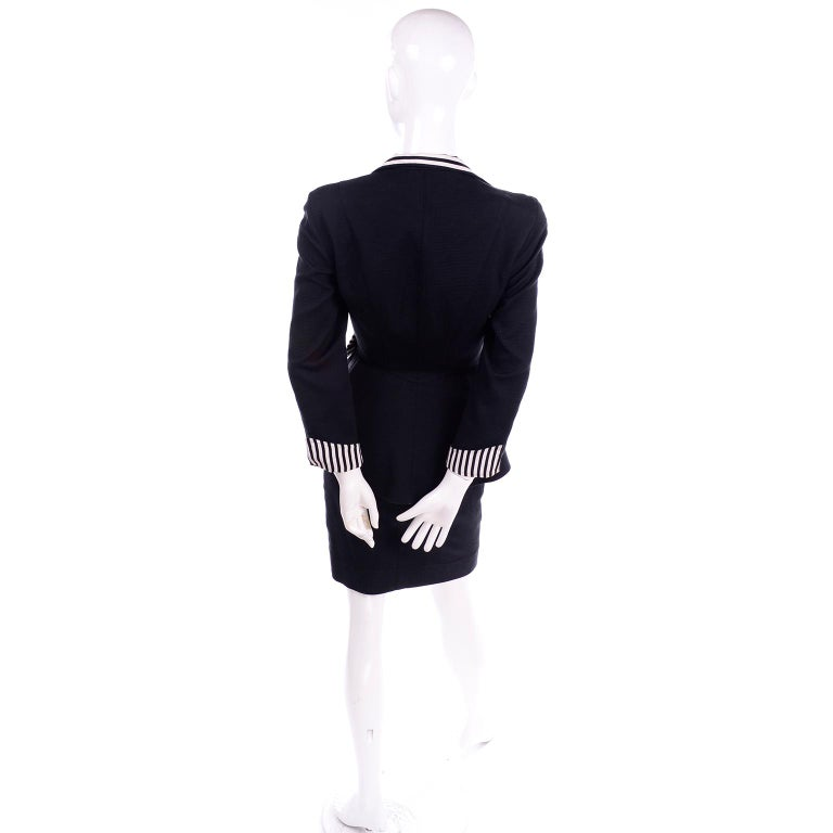 1980s Thierry Mugler Vintage Black Peplum Blazer &  Skirt Suit w/ Striped Bows For Sale 1