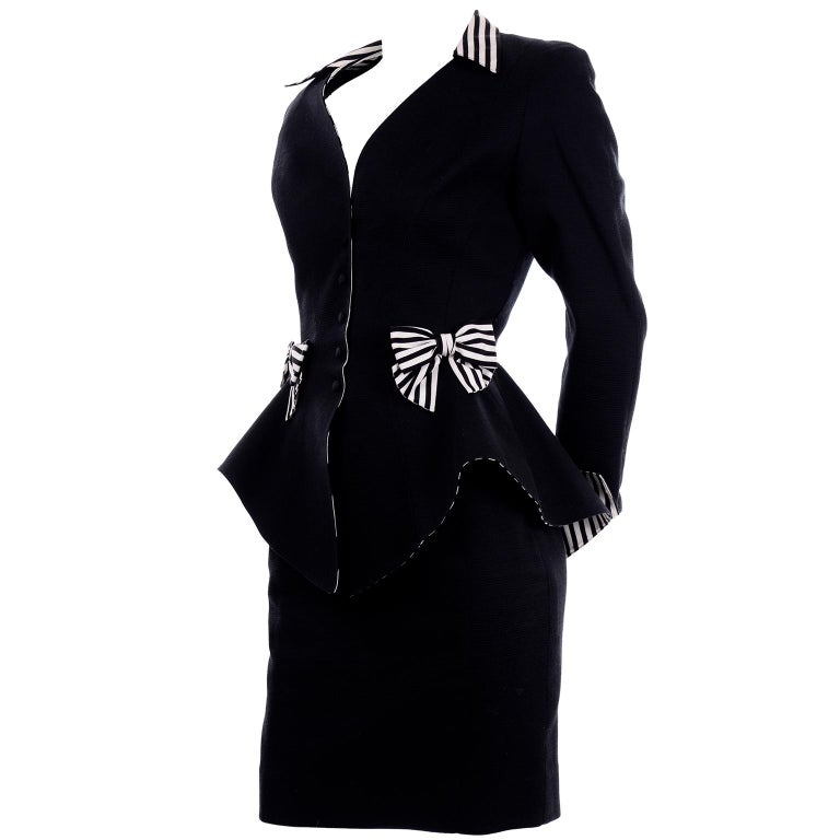 1980s Thierry Mugler Vintage Black Peplum Blazer &  Skirt Suit w/ Striped Bows For Sale 3