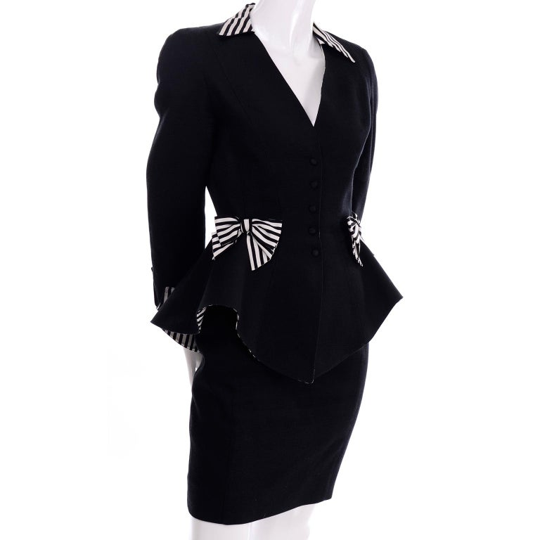 1980s Thierry Mugler Vintage Black Peplum Blazer &  Skirt Suit w/ Striped Bows For Sale 4