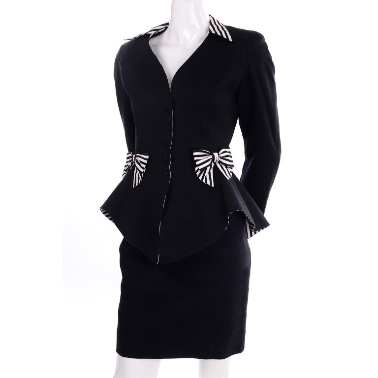 1980s Thierry Mugler Vintage Black Peplum Blazer &  Skirt Suit w/ Striped Bows For Sale 5