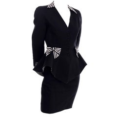1980s Thierry Mugler Vintage Black Peplum Blazer &  Skirt Suit w/ Striped Bows