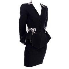 1980s Thierry Mugler Vintage Black Peplum Blazer &  Skirt Suit w/ Striped Bows