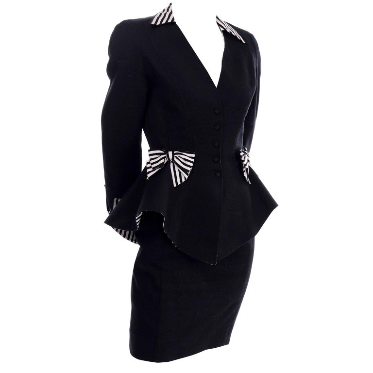 1980s Thierry Mugler Vintage Black Peplum Blazer &  Skirt Suit w/ Striped Bows For Sale