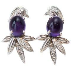 1980s Tiffany & Co. Amethyst, Diamond, 18 Karat White Gold Bird Earrings