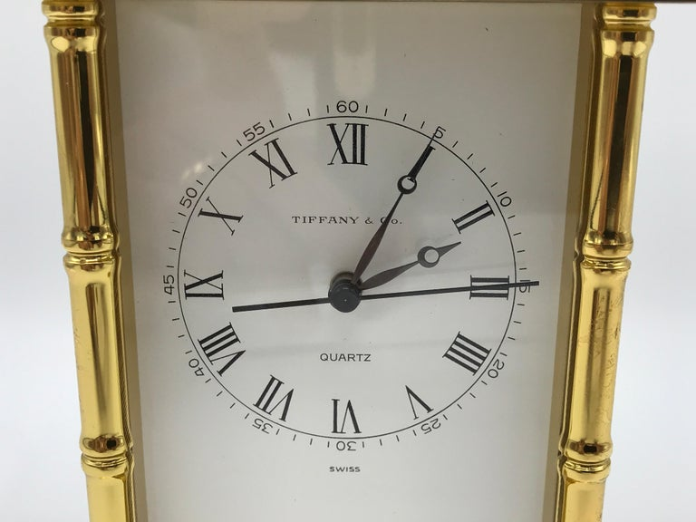 1980s Tiffany And Co Brass Pagoda Clock With Faux Bamboo