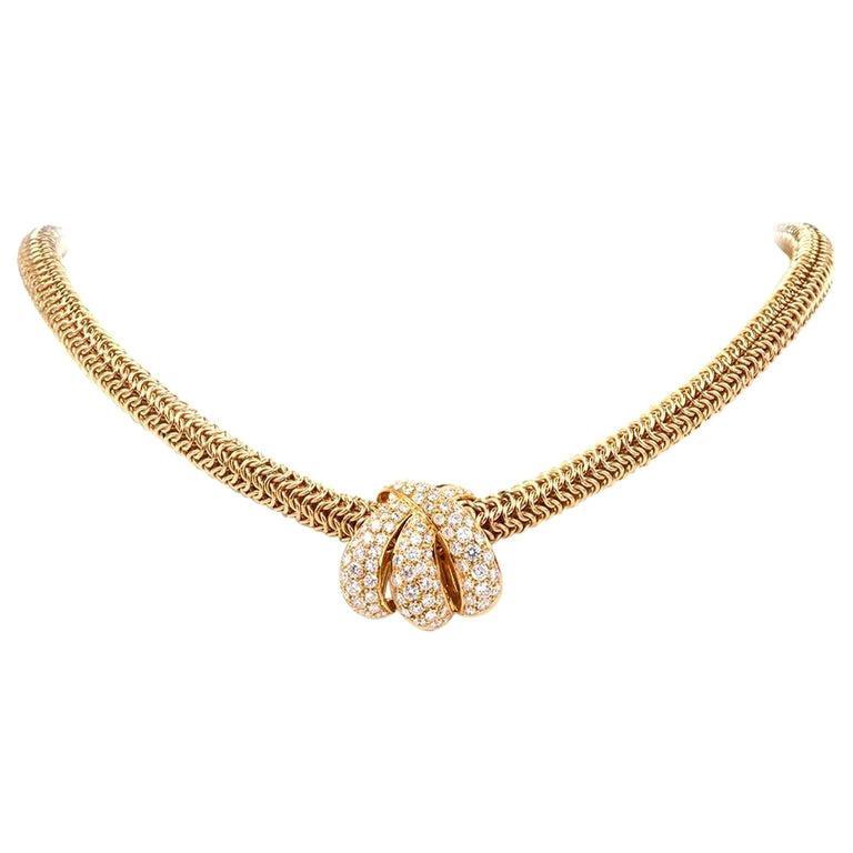 1980s Tiffany & Co. Diamond Inset Gold Necklace with Tiffany Pendant Enhancer