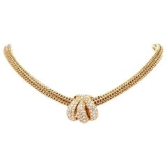 1980s Tiffany & Co. Diamond Inset Gold Necklace with Tiffany Pendant Enhancer