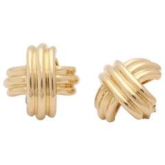 1980s Tiffany & Co. X Design Three Dimensional High Polish Ridged Gold Earrings