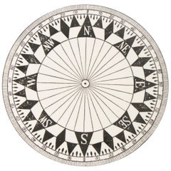 1980s Timney Fowler Black and White Compass Ceramic Plate