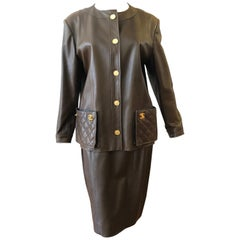 1980s Tobacco Leather Chanel Suit (42)