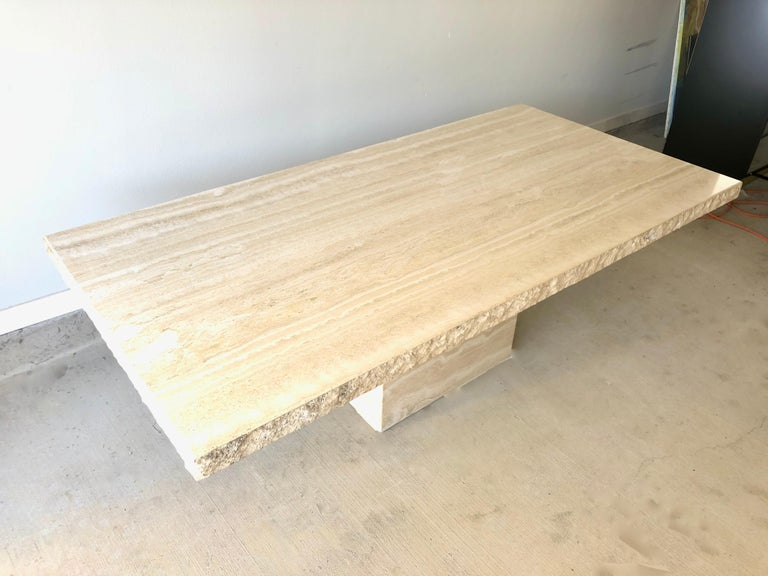1980s Travertine Dining Table For Sale 4
