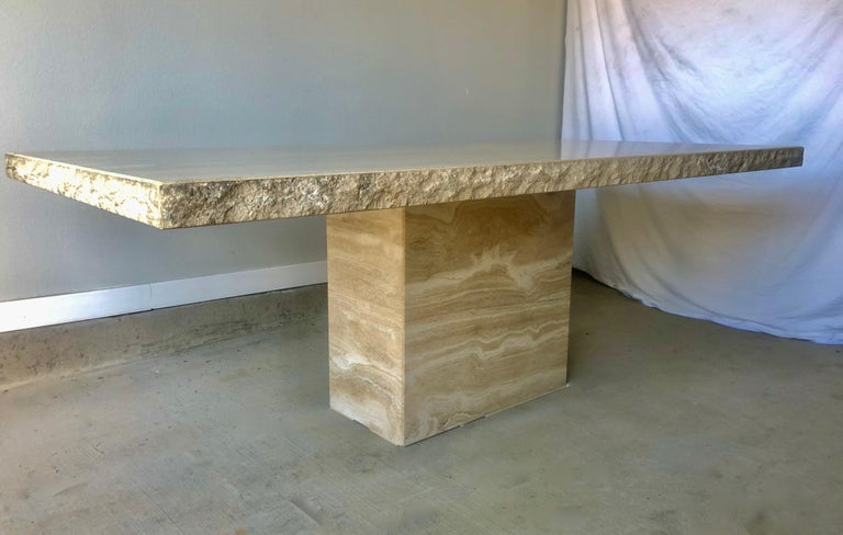 1980s Travertine Dining Table For Sale 11