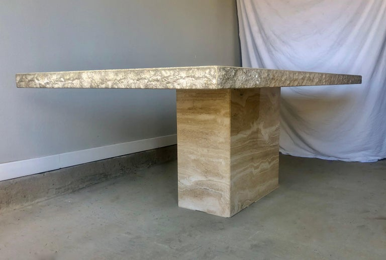 1980s Travertine Dining Table For Sale 12