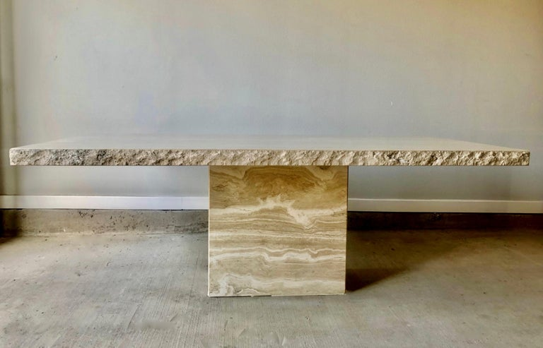 1980s Travertine Dining Table For Sale 13