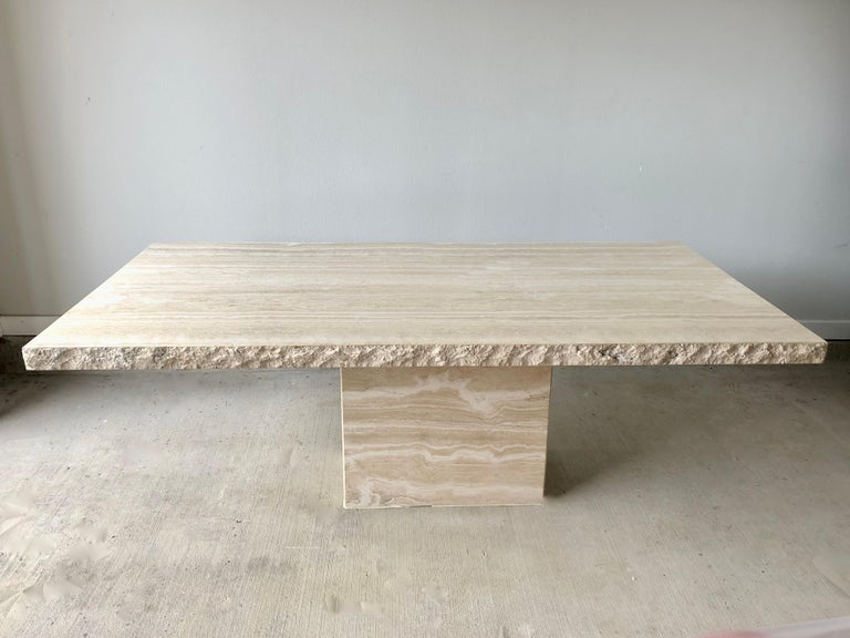 Italian 1980s Travertine Dining Table For Sale