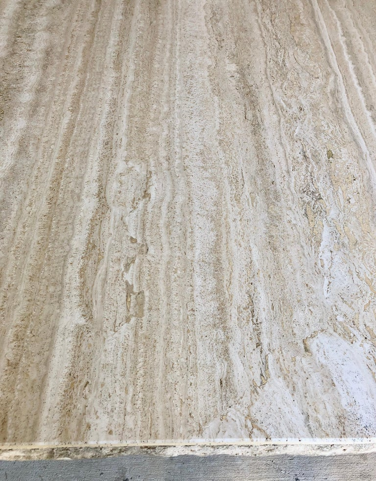 1980s Travertine Dining Table In Good Condition For Sale In Laguna Hills, CA