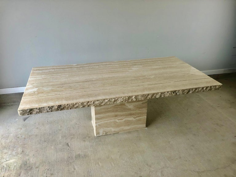 1980s Travertine Dining Table For Sale 1