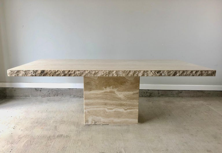 1980s Travertine Dining Table For Sale 3