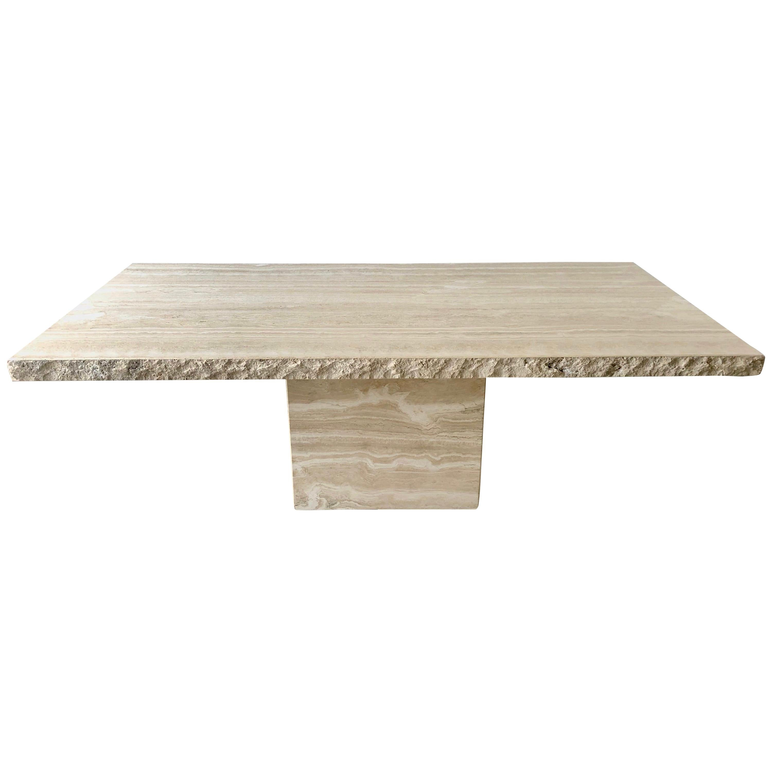 1980s Travertine Dining Table