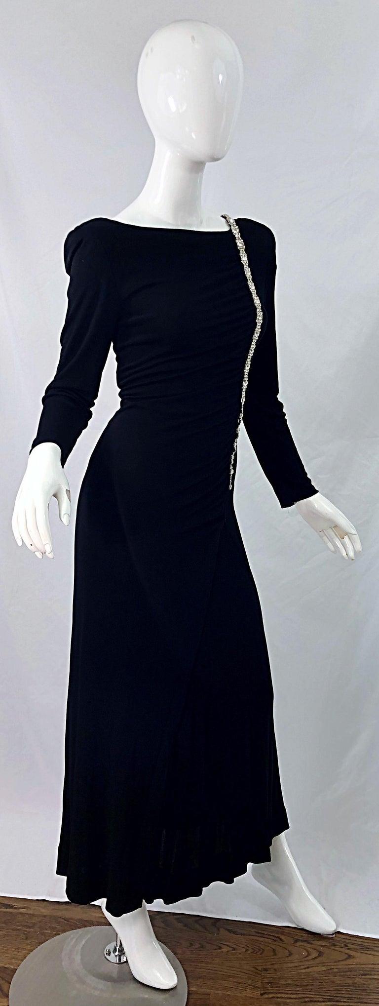 1980s Travilla Size 10 Black Matte Silk Jersey Rhinestone Vintage 80s Gown Dress For Sale 6