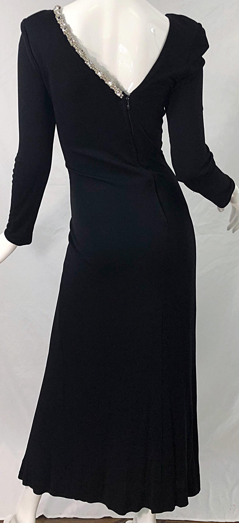 1980s Travilla Size 10 Black Matte Silk Jersey Rhinestone Vintage 80s Gown Dress For Sale 7