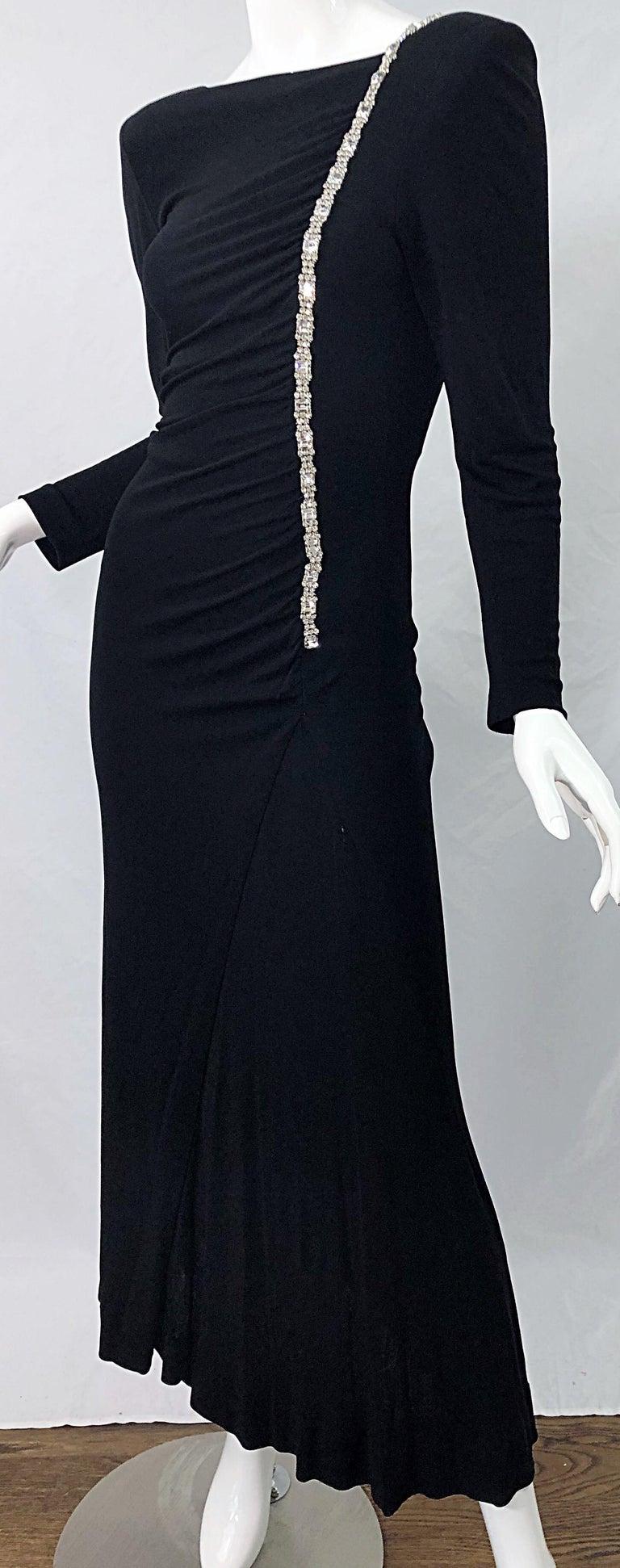 1980s Travilla Size 10 Black Matte Silk Jersey Rhinestone Vintage 80s Gown Dress For Sale 8