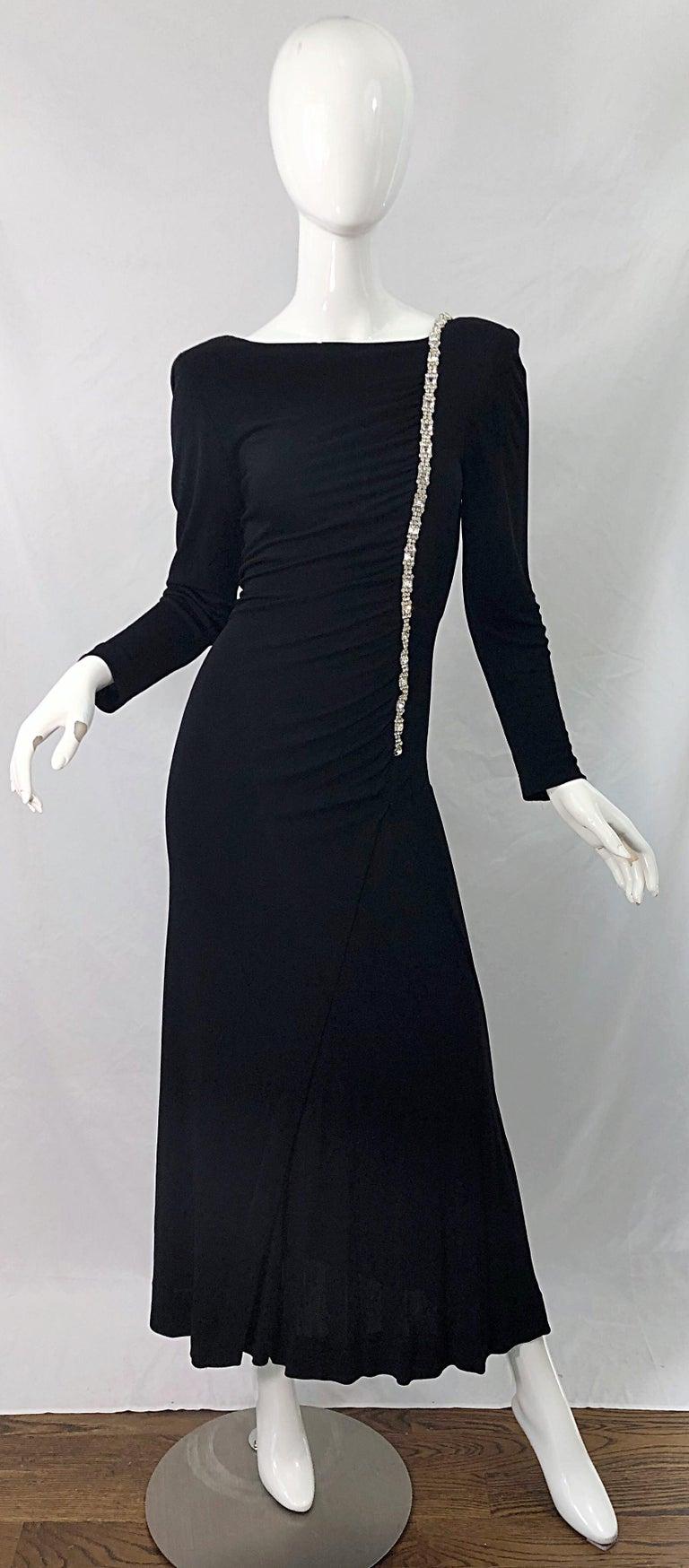 1980s Travilla Size 10 Black Matte Silk Jersey Rhinestone Vintage 80s Gown Dress For Sale 10