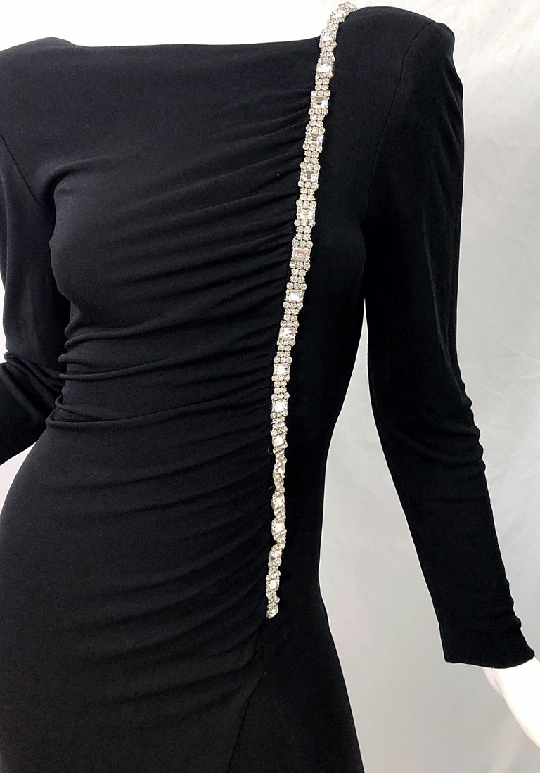 1980s Travilla Size 10 Black Matte Silk Jersey Rhinestone Vintage 80s Gown Dress In Excellent Condition For Sale In Chicago, IL