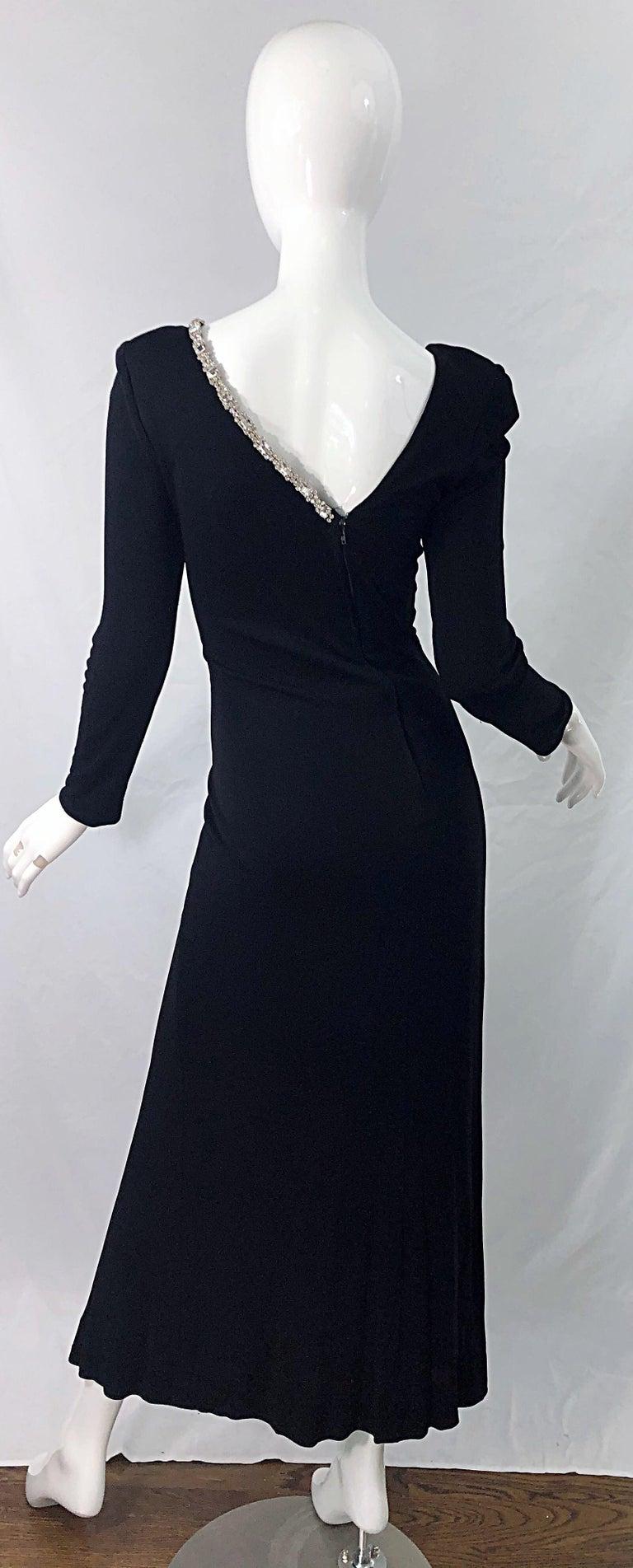 Women's 1980s Travilla Size 10 Black Matte Silk Jersey Rhinestone Vintage 80s Gown Dress For Sale