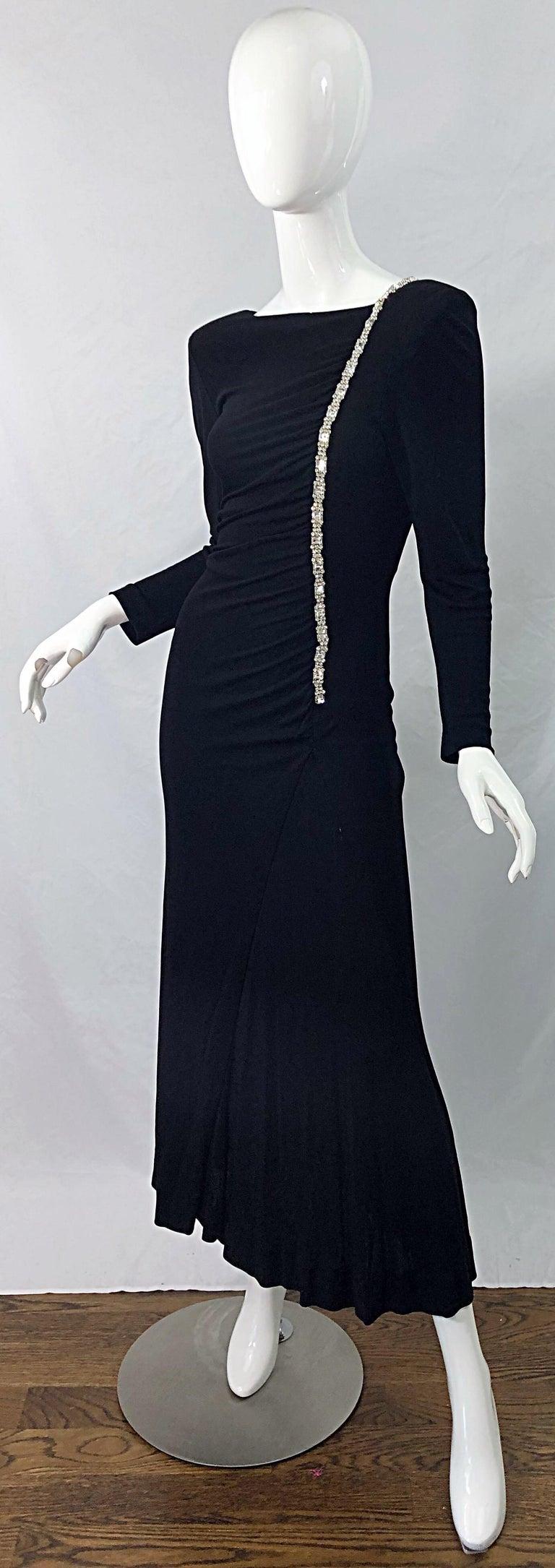 1980s Travilla Size 10 Black Matte Silk Jersey Rhinestone Vintage 80s Gown Dress For Sale 1