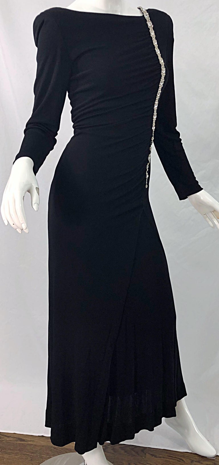 1980s Travilla Size 10 Black Matte Silk Jersey Rhinestone Vintage 80s Gown Dress For Sale 2