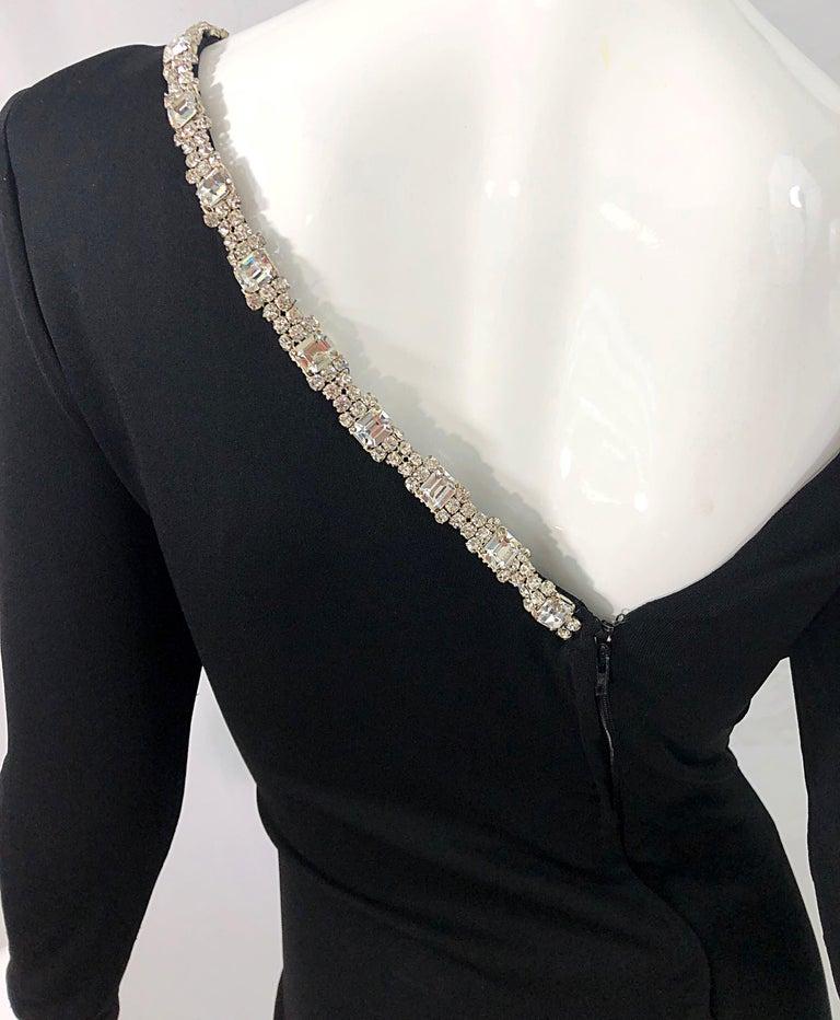 1980s Travilla Size 10 Black Matte Silk Jersey Rhinestone Vintage 80s Gown Dress For Sale 3