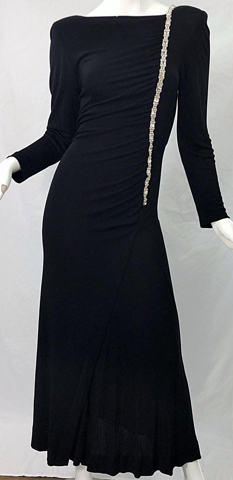 1980s Travilla Size 10 Black Matte Silk Jersey Rhinestone Vintage 80s Gown Dress For Sale 4