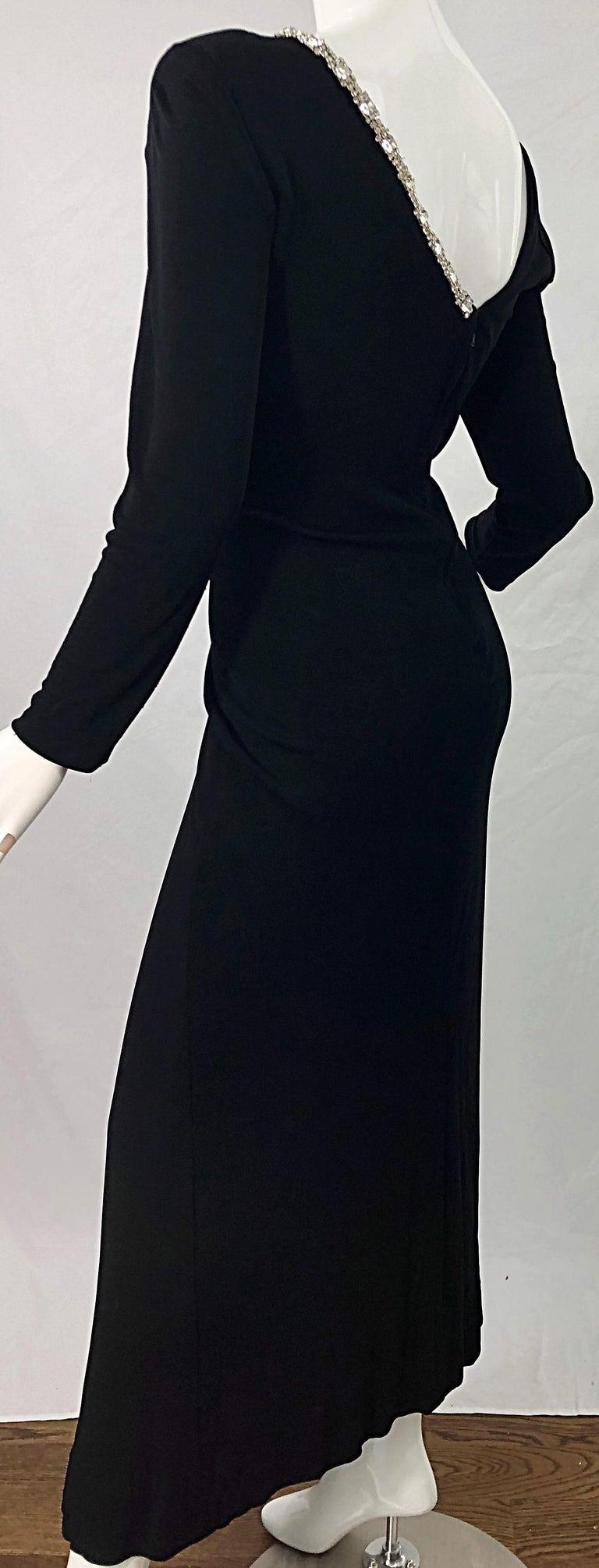 1980s Travilla Size 10 Black Matte Silk Jersey Rhinestone Vintage 80s Gown Dress For Sale 5