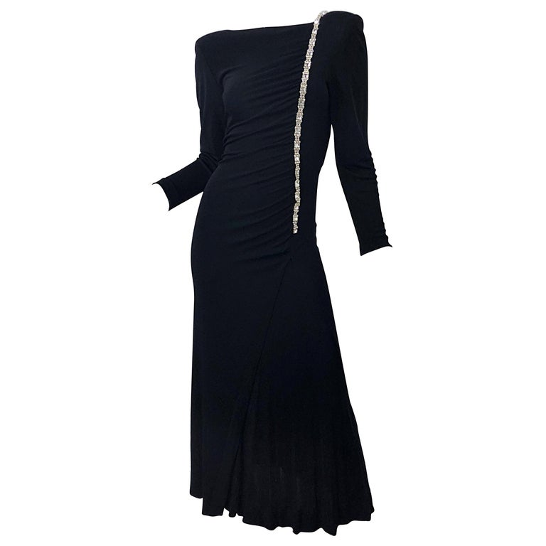 1980s Travilla Size 10 Black Matte Silk Jersey Rhinestone Vintage 80s Gown Dress For Sale