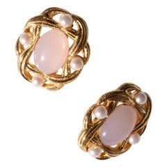 1980s Trifari Earrings Gold Plate with Pearls and Pink Glass