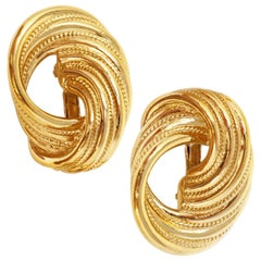 1980s Trifari Oversized Gilded Twist Statement Earrings, Signed