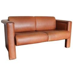 1980s Trix & Robert Haussmann for Knoll Tan Brown Saddle 2-Seat Sofa