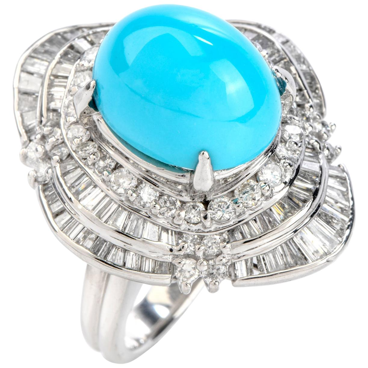 1980s Turquoise Diamond Platinum Ballerina Cocktail Ring