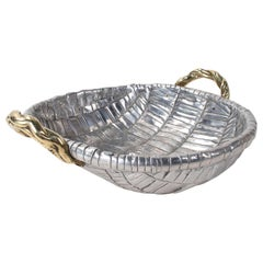 1980s Two-Tone Bronze Fruit Basket with Stamped Signature