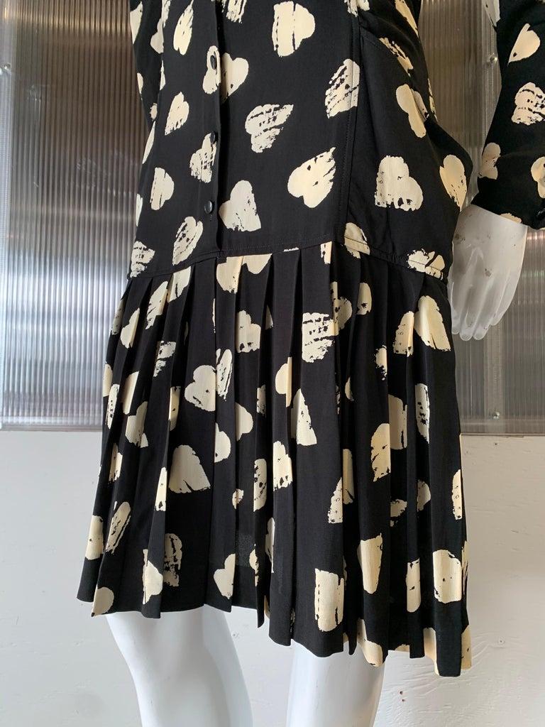 1980s Ungaro Black & Cream Rayon Drop Waist Dress W/ Velvet Collar & Heart Print For Sale 1