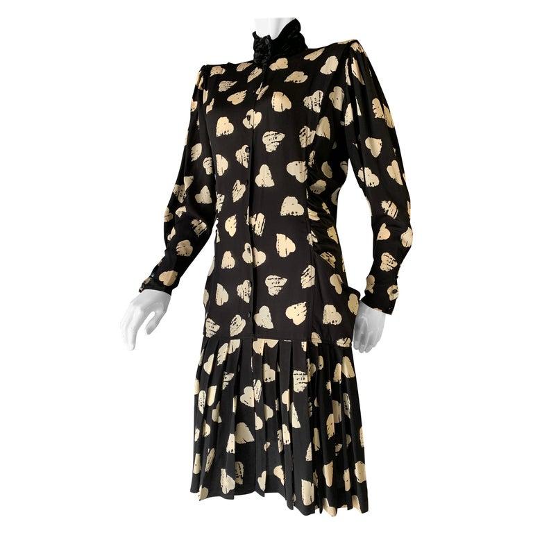 1980s Ungaro Black & Cream Rayon Drop Waist Dress W/ Velvet Collar & Heart Print For Sale