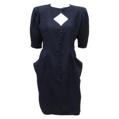 1980's Ungaro Black Linen Dress